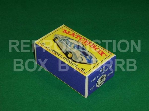 Matchbox 1-75 #41 Ford GT Racing Car - Reproduction Box